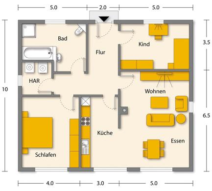 preis und grundrisse vom bungalow b 01 von isd hausbau. Black Bedroom Furniture Sets. Home Design Ideas